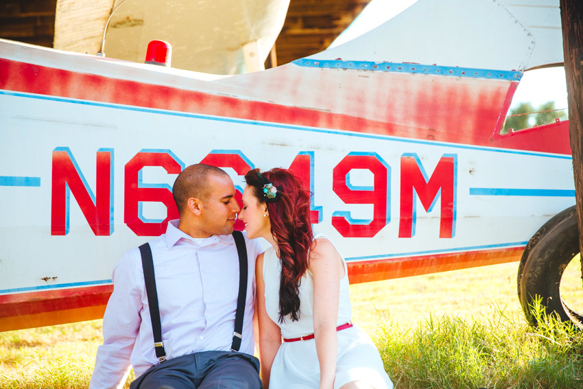 Vintage Airplane Engagement Session 006