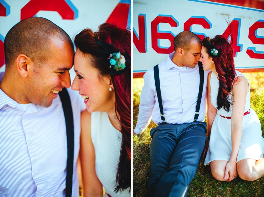 Vintage Airplane Engagement Session 008a