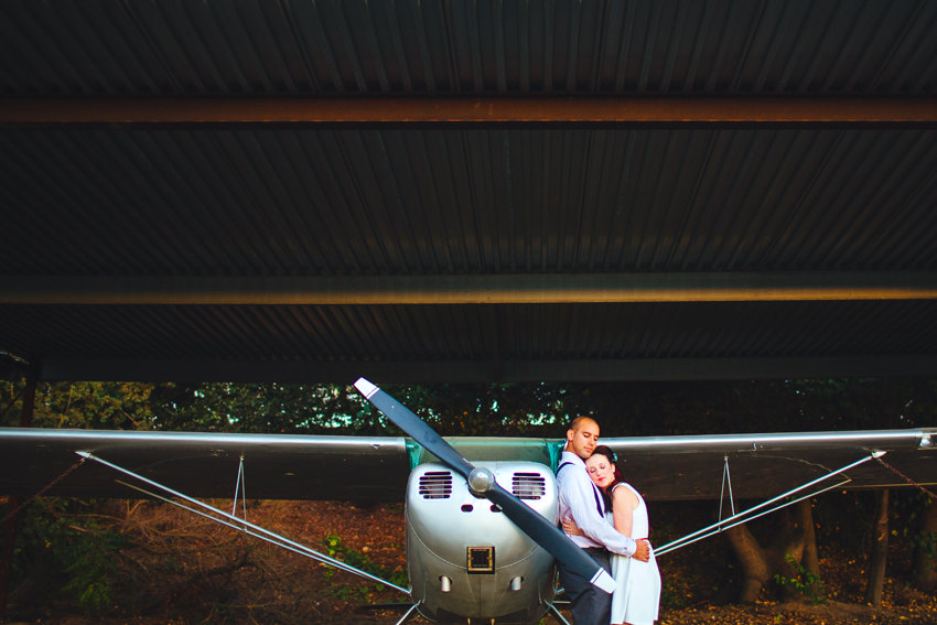 Vintage Airplane Engagement Session 019