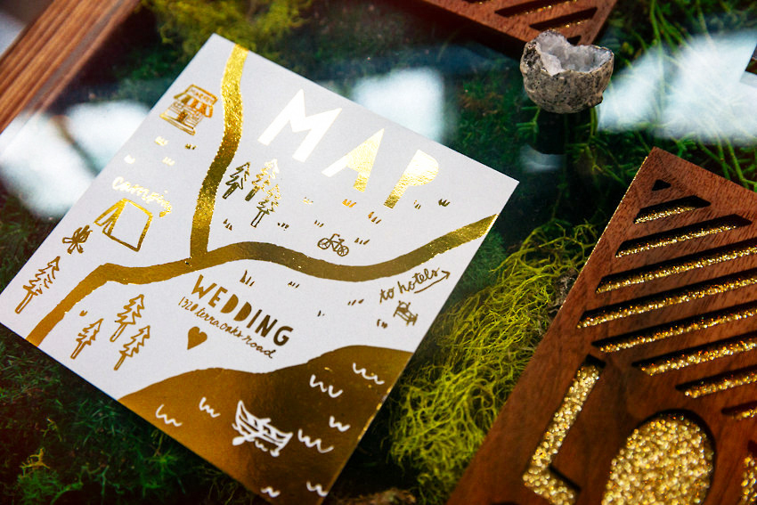 Glitter laser woodcut gold foil floral wedding invitations 024 as
